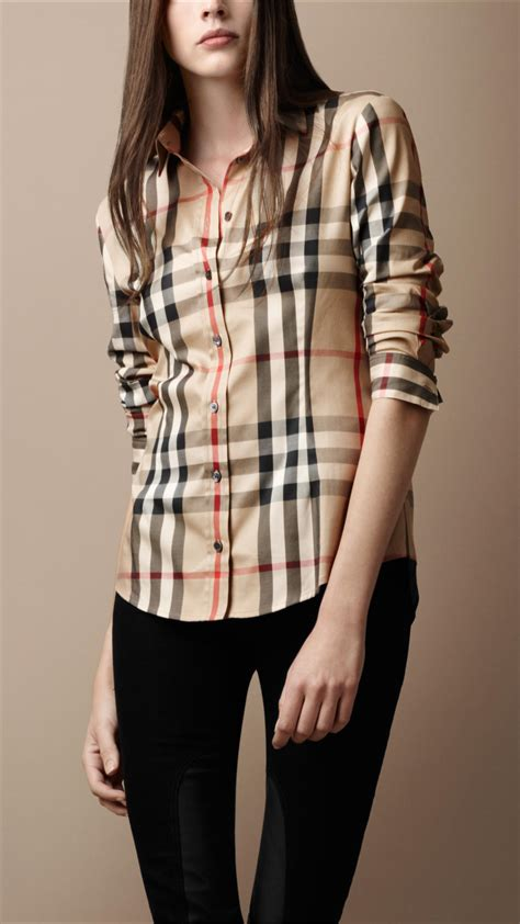 Burberry Brit Pointed Collar Check Shirt in Natural - Lyst