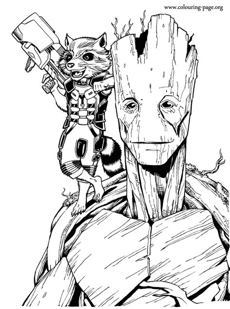Guardians of the Galaxy - Rocket and Groot coloring page