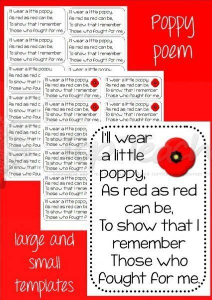 Little Poppy Poem (big and small) | Remembrance day