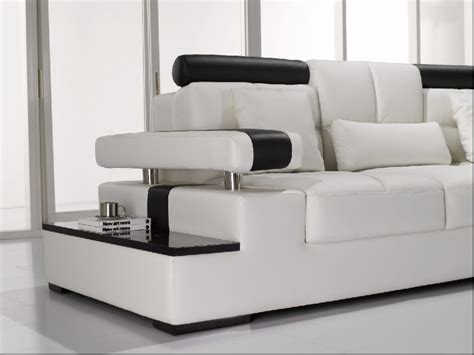 Modern White Leather Sectional Sofa