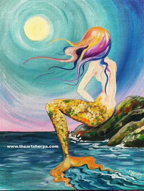Mermaid cove painting tutorial by the Art sherpa for