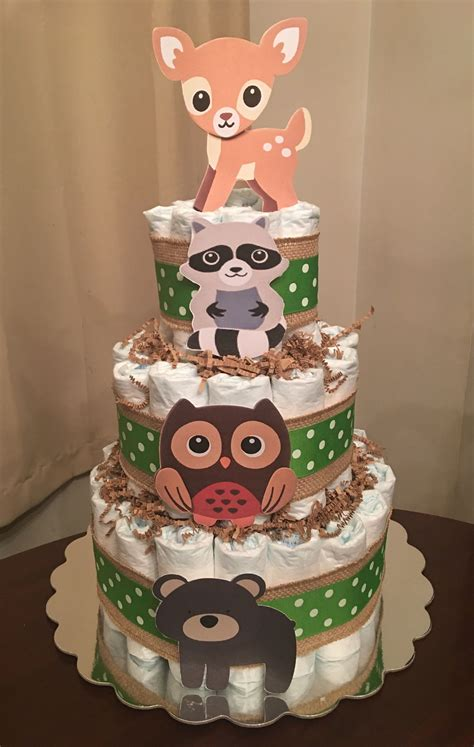 Woodland animal diaper cake | Forest baby showers, Baby