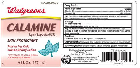 Walgreens Calamine Skin Protectant: Details from the FDA