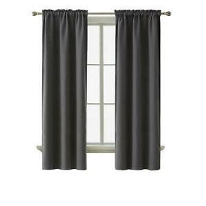 Deconovo Thermal Insulated Blackout Curtains Dark Gray