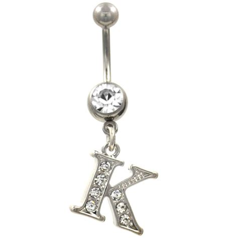 """Initial Letter """"K"""" Clear Gems Belly Button Ring   Belly"""