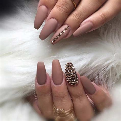 Matte Neutral Coffin Nails with Rhinestones | Nails design