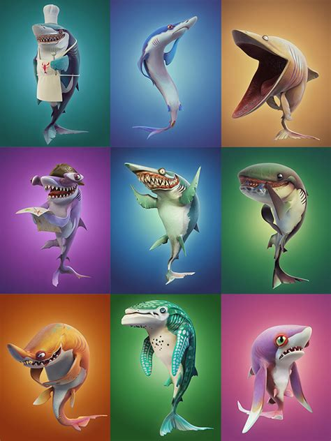 Hungry Shark World Character Renders on Behance